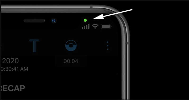 Apple included another green 'cautioning dot' to its iPhone so you'll know whether you're being kept an eye on
